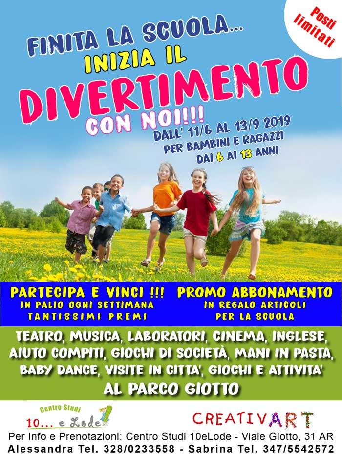 campi estivi 2019 arte creativart creativartarezzo gioco parco pertini giotto teatro musica compiti inglese pasta creatività divertimento estate felicità